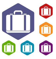 suitcase icons set vector image