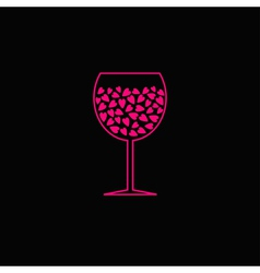 Wine glass with pink hearts inside Black backgroun vector image vector image