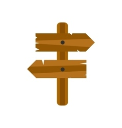 Wooden direction arrow sign icon vector image