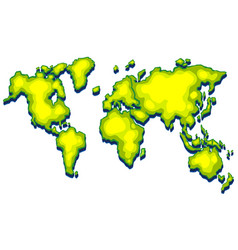 Worldmap with green land on white background vector
