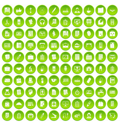 100 office icons set green circle vector