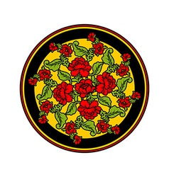 Russian national pattern painting hohloma round vector