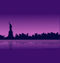 Silhouette of city with liberty building scenery vector