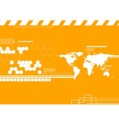 Technology world map backdrop vector