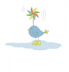 bird with colorful windmill illustration vector image