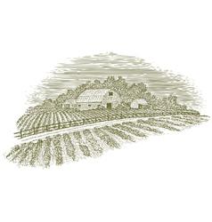 Woodcut Farm Road vector image