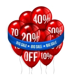 Red flying party balloons with text sale and vector