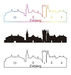 Esbjerg skyline linear style with rainbow vector