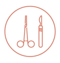 Surgical instruments line icon vector