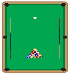 Pool table with balls and cue vector