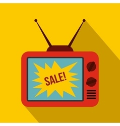 Tv screen with sale text icon flat style vector