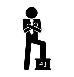 First place businessman icon vector