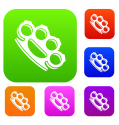 Brass knuckles set collection vector