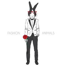 Bunny dressed up in tuxedo vector