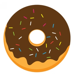 Chocolate frosted ring doughnut vector