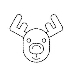 Christmas reindeer horned animal decoration vector