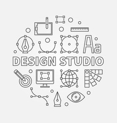 Design studio round outline vector