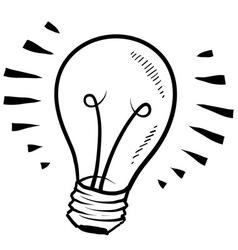 doodle lightbulb light cute vector image