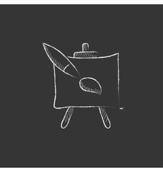 Easel and paint brush drawn in chalk icon vector