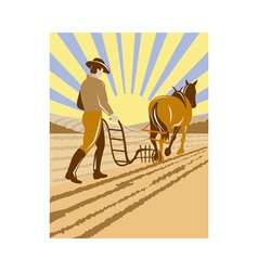 Farmer and horse plowing the farm vector