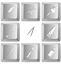 feather scissors trowel hand drill caliper saw vector image