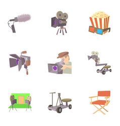 filming location icons set cartoon style vector image vector image