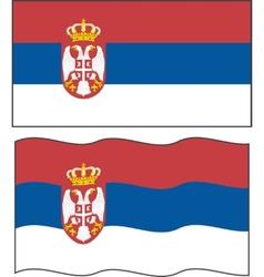 Flat and waving Serbian Flag vector image