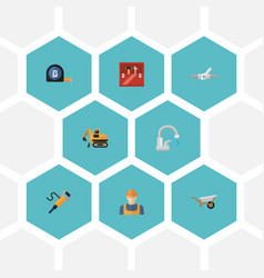 Flat icons faucet pipeline valve worker and vector