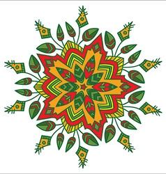 Hand-drawn colored mandala zentangl floral element vector