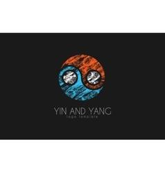 hand drawn ying yang symbol of harmony and balance vector image