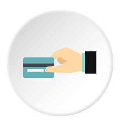 Hand holding credit card icon flat style vector