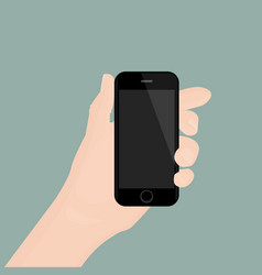 Hand holding smartphone on background vector