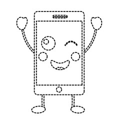 happy cellphone kawaii icon image vector image