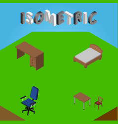 Isometric furniture set of office table bedstead vector