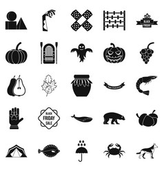 leaf fall icons set simple style vector image