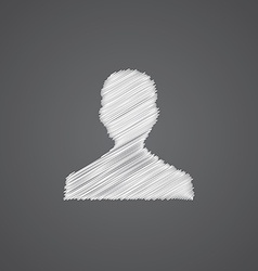 Male profile sketch logo doodle icon vector
