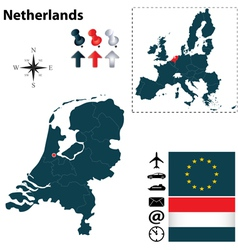 Netherlands and European Union map vector image