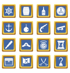 Pirate icons set blue vector