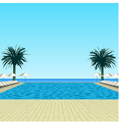 pool palms and sky vector image vector image