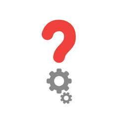 question mark and gears icon on white with flat vector image