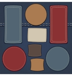 Set of leather labels on denim vector