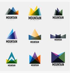 Set of mountain logo geometric designs vector
