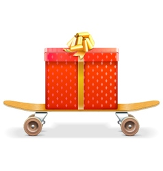 Skateboard with Gift vector image