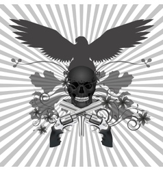 skull with guns and flowers vector image vector image