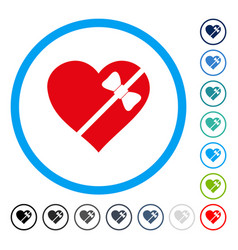 tied love heart rounded icon vector image vector image