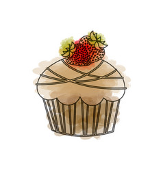 Watercolor drawing of cupcake with two strawberry vector