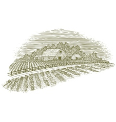 Woodcut farm road vector
