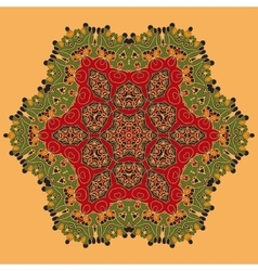 Yoga green and red oriental mandala abstract vector