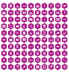 100 audio icons hexagon violet vector