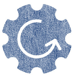 Gear rotation fabric textured icon vector